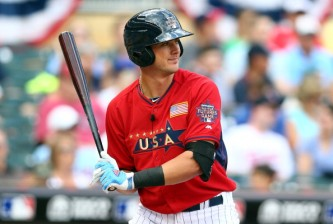MINNEAPOLIS, MN - JULY 13:  Kris Bryant of the U.S. Team during the SiriusXM All-Star Futures Game at Target Field on July 13, 2014 in Minneapolis, Minnesota.  (Photo by Elsa/Getty Images)