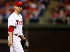 PHILADELPHIA, PA - SEPTEMBER 13: Kyle Kendrick #38 of the Philadelphia Phillies reacts after being taken out of the game in the seventh inning against the Miami Marlins during a game at Citizens Bank Park on September 13, 2014 in Philadelphia, Pennsylvania. The Phillies defeated the Marlins 2-1. (Photo by Rich Schultz/Getty Images)