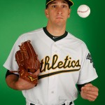 MESA, AZ - FEBRUARY 28:  Pitcher Pat Venditte #74 of the Oakland Athletics poses for a portrait during the spring training photo day at HoHoKam Stadium on February 28, 2015 in Mesa, Arizona.  (Photo by Christian Petersen/Getty Images)