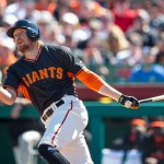 SCOTTSDALE, AZ - MARCH 4: Hunter Pence #8 of the San Francisco Giants doubles in the first inning during a spring training game against the Oakland Athletics at Scottsdale Stadium on March 4, 2015 in Scottsdale, Arizona. (Photo by Rob Tringali/Getty Images)