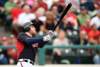 LAKE BUENA VISTA, FL - MARCH 06:  Freddie Freeman #5 of the Atlanta Braves swings at a pitch during the first inning of a spring training game against the Washington Nationals at Champion Stadium on March 6, 2015 in Lake Buena Vista, Florida.  (Photo by Stacy Revere/Getty Images)
