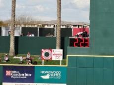 The center field timer in Goodyear Ballpark. Photo by Joseph Coblitz, BurningRiverBaseball.com