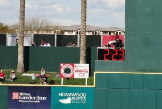 The center field timer in Goodyear Ballpark. Photo by Joseph Coblitz, BurningRiverBaseball.com