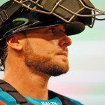 MIAMI, FL - SEPTEMBER 19: Catcher Jarrod Saltalamacchia #39 of the Miami Marlins runs into the dugout between innings against the Washington Nationals at Marlins Park on September 19, 2014 in Miami, Florida. (Photo by Eliot J. Schechter/Getty Images)
