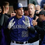 DENVER, CO - APRIL 11:  Nolan Arenado #28 of the Colorado Rockies celebrates his two run home run off of starting pitcher Jason Hammel #39 of the Chicago Cubs as the Cubs held a 3-2 lead in the second inning at Coors Field on April 11, 2015 in Denver, Colorado.  (Photo by Doug Pensinger/Getty Images)