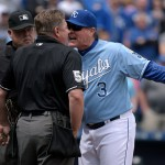 KANSAS CITY, MO - APRIL 19:  Ned Yost #3 of the manager of the Kansas City Royals argues with umpire Greg Gibson after he was ejected from a game against the Oakland Athletics in the first inning on April 19, 2015 at Kauffman Stadium in Kansas City, Missouri. (Photo by Ed Zurga/Getty Images)