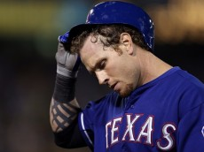 OAKLAND, CA - OCTOBER 01:  Josh Hamilton #32 of the Texas Rangers walks back to the dugout after getting out against the Oakland Athletics at O.co Coliseum on October 1, 2012 in Oakland, California.  (Photo by Ezra Shaw/Getty Images)