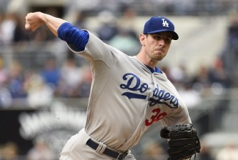 SAN DIEGO, CA - APRIL 25: Brandon McCarthy #38 of the Los Angeles Dodgers pitches during the first inning of a baseball game at Petco Park April 25, 2015 in San Diego, California. (Photo by Denis Poroy/Getty Images)