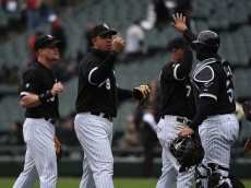 CHICAGO, IL - APRIL 22: Gordon Beckham (L) of the Chicago White Sox, Jose Abreu (C) and Geovany Soto (R) celebrate their win against the Cleveland Indians on April 22, 2015 at U. S. Cellular Field in Chicago, Illinois.  The White Sox defeated the Indians 6-0. (Photo by David Banks/Getty Images)