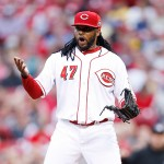 CINCINNATI, OH - MAY 14: Johnny Cueto #47 of the Cincinnati Reds reacts after being called for a balk and allowing a run to score in the third inning of the game against the San Francisco Giants at Great American Ball Park on May 14, 2015 in Cincinnati, Ohio. (Photo by Joe Robbins/Getty Images)