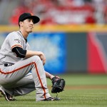 CINCINNATI, OH - MAY 14: Tim Lincecum #55 of the San Francisco Giants reacts after slipping off the mound while pitching in the first inning of the game against the Cincinnati Reds at Great American Ball Park on May 14, 2015 in Cincinnati, Ohio. (Photo by Joe Robbins/Getty Images)