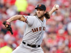 CINCINNATI, OH - MAY 15: Madison Bumgarner #40 of the San Francisco Giants pitches in the second inning of the game against the Cincinnati Reds at Great American Ball Park on May 15, 2015 in Cincinnati, Ohio. (Photo by Joe Robbins/Getty Images)