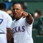 ARLINGTON, TX - MAY 15:  Adrian Beltre #29 of the Texas Rangers celebrates in the dugout after hitting his 400th career homerun against Bruce Chen #52 of the Cleveland Indians in the first inning at Globe Life Park in Arlington on May 15, 2015 in Arlington, Texas.  (Photo by Ronald Martinez/Getty Images)