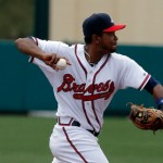 LAKE BUENA VISTA, FL - MARCH 12:  Elmer Reyes #67 of the Atlanta Braves makes a throw to first base in the first inning of a game against the Washington Nationals at Champion Stadium on March 12, 2014 in Lake Buena Vista, Florida.  (Photo by Stacy Revere/Getty Images)