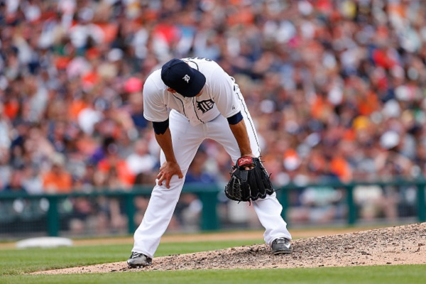 :DETROIT, MI - MAY 24: Anibal Sanchez #19 of the Detroit Tigers reacts after giving up a three run home run to Preston Tucker #20 of the Houston Astros (not in photo) during the sixth inning of the game on May 24, 2015 at Comerica Park in Detroit, Michigan. (Photo by Leon Halip/Getty Images)