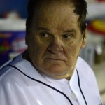 BRIDGEPORT, CT - JUNE 16:  Former Major League Baseball player Pete Rose looks on from the dugout while managing the game for the Bridgeport Bluefish against the Lancaster Barnstormers at The Ballpark at Harbor Yard on June 16, 2014 in Bridgeport, Connecticut. (Photo by Christopher Pasatieri/Getty Images)