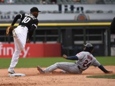 CHICAGO, IL - APRIL 22:  on April 22, 2015 at U. S. Cellular Field in Chicago, Illinois.  The White Sox defeated the Indians 6-0. (Photo by David Banks/Getty Images) *** Local Caption ***