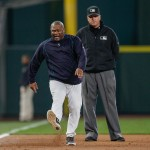 SEATTLE, WA - JUNE 02:  Manager Lloyd McClendon #21 of the Seattle Mariners kicks the dirt after being ejected in the third inning against the New York Yankees at Safeco Field on June 2, 2015 in Seattle, Washington. Third base umpire Tony Randazzo #11 (who did not eject McClendon,) is at right.  (Photo by Otto Greule Jr/Getty Images)