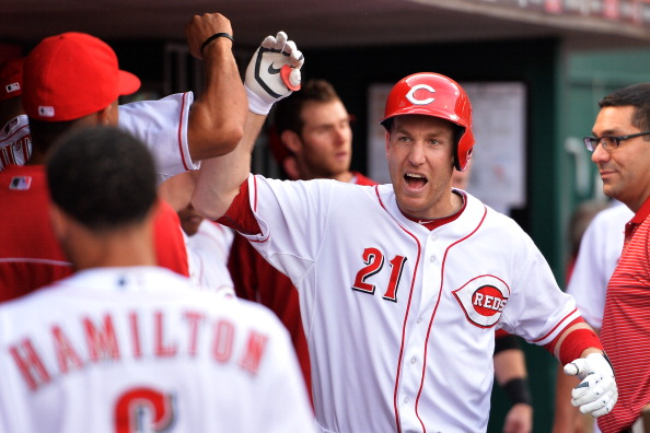 CINCINNATI, OH - JUNE 4:  Todd Frazier #21 of the Cincinnati Reds celebrates his solo home run against the San Francisco Giants in the third inning at Great American Ball Park on June 4, 2014 in Cincinnati, Ohio.  (Photo by Jamie Sabau/Getty Images)