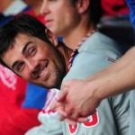 ATLANTA, GA - SEPTEMBER 1: Cole Hamels #35 of the Philadelphia Phillies relaxes in the dugout during the eighth inning of a four pitcher no-hitter against the Atlanta Braves at Turner Field on September 1, 2014 in Atlanta, Georgia. (Photo by Scott Cunningham/Getty Images)