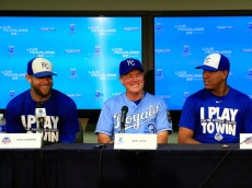 KANSAS CITY, MO - JULY 07:  Manager Ned Yost #3 of the Kansas City Royals sits between All-Stars Alex Gordon #4 and Salvador Perez #13 during a press conference announcing their selection to the 2013 All-Star game prior to the game against the Oakland Athletics at Kauffman Stadium on July 7, 2013 in Kansas City, Missouri.  (Photo by Jamie Squire/Getty Images)