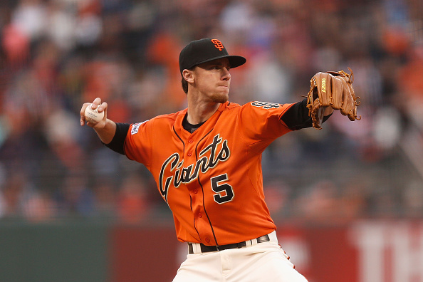 SAN FRANCISCO, CA - MAY 29:  Matt Duffy #5 of the San Francisco Giants fields the ball at third base in the second inning against the Atlanta Braves at AT&T Park on May 29, 2015 in San Francisco, California.  (Photo by Lachlan Cunningham/Getty Images)