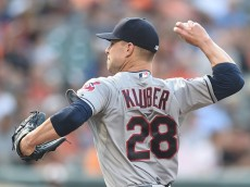 BALTIMORE, MD - JUNE 26:  Corey Kluber #28 of the Cleveland Indians pitches in the first inning during a baseball game against the Baltimore Orioles at Oriole Park at Camden Yards on June 26, 2015 in Baltimore, Maryland.  (Photo by Mitchell Layton/Getty Images)