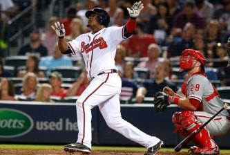 <> of the Philadelphia Phillies Atlanta Braves inning during the game against the Atlanta Braves Philadelphia Phillies at Turner Field on July 3, 2015 in Atlanta, Georgia.