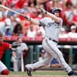 CINCINNATI, OH - JULY 5: Adam Lind #24 of the Milwaukee Brewers hits a two-run home run in the seventh inning against the Cincinnati Reds at Great American Ball Park on July 5, 2015 in Cincinnati, Ohio. The Brewers defeated the Reds 6-1. (Photo by Joe Robbins/Getty Images)
