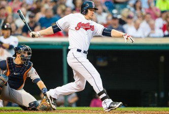 CLEVELAND, OH -  JULY 6: Brandon Moss #44 of the Cleveland Indians hits an RBI triple to right during the fourth inning against the Houston Astros at Progressive Field on July 6, 2015 in Cleveland, Ohio. (Photo by Jason Miller/Getty Images)  *** Local Caption *** Brandon Moss