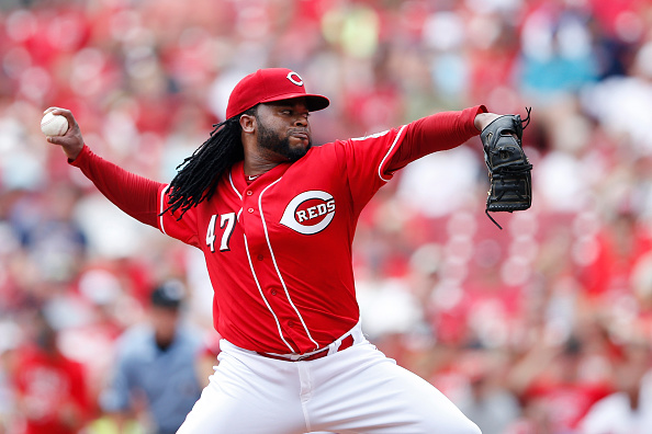 CINCINNATI, OH - JULY 19: Johnny Cueto #47 of the Cincinnati Reds pitches in the first inning against the Cleveland Indians at Great American Ball Park on July 19, 2015 in Cincinnati, Ohio. (Photo by Joe Robbins/Getty Images)