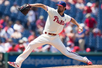 PHILADELPHIA, PA - JULY 19: Cole Hamels #35 of the Philadelphia Phillies throws a pitch in the top of the first inning against the Miami Marlins on July 19, 2015 at the Citizens Bank Park in Philadelphia, Pennsylvania.  (Photo by Mitchell Leff/Getty Images) *** Local Caption *** Cole Hamels
