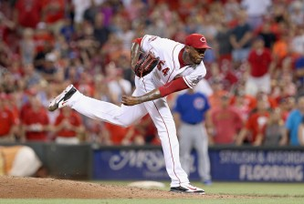 CINCINNATI, OH - JULY 20:  Aroldis Chapman #54 of the Cincinnati Reds throws a pitch during the 5-4 win over the Chicago Cubs at Great American Ball Park on July 20, 2015 in Cincinnati, Ohio.  (Photo by Andy Lyons/Getty Images)