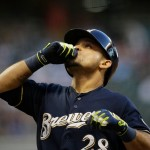 MILWAUKEE, WI - JULY 30: Gerardo Parra #28 of the Milwaukee Brewers reacts after a single against the Chicago Cubs in the third inning  at Miller Park on July 30, 2015 in Milwaukee, Wisconsin.  (Photo by Jeffrey Phelps/Getty Images)