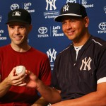 NEW YORK, NY - JULY 03:  Sports writer and baseball collector Zack Hample poses for a photo with Alex Rodriguez #13 of the New York Yankees after giving Rodriguez the ball from his 3,000th hit at Yankee Stadium on July 3, 2015 in the Bronx borough of New York City.  (Photo by Mike Stobe/Getty Images)