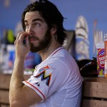 :MIAMI, FL - JULY 30: Dan Haren #15 of the Miami Marlins looks on during a game against the Washington Nationals at Marlins Park on July 30, 2015 in Miami, Florida. (Photo by Mike Ehrmann/Getty Images)