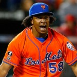 NEW YORK, NY - SEPTEMBER 12:  Jenrry Mejia #58 of the New York Mets reacts after striking out Ian Desmond (not pictured) of the Washington Nationals to end the game at Citi Field on September 12, 2014 in the Flushing neighborhood of the Queens borough of New York City.  (Photo by Jim McIsaac/Getty Images)