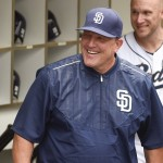 SAN DIEGO, CA - JUNE 16:  Pat Murphy #24 Interim Manager of the San Diego Padres laughs in the dugout  before a baseball game against the Oakland Athletics at Petco Park June 16, 2015 in San Diego, California.  (Photo by Denis Poroy/Getty Images)