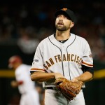 PHOENIX, AZ - APRIL 06:  Relief pitcher Jeremy Affeldt #41 of the San Francisco Giants reacts after pitching against the Arizona Diamondbacks during the Opening Day MLB game at Chase Field on April 6, 2015 in Phoenix, Arizona. The Giants defeated the Diamondbacks 5-4.  (Photo by Christian Petersen/Getty Images)