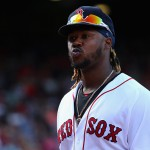BOSTON, MA - AUGUST 02:  Hanley Ramirez #13 of the Boston Red Sox looks towards the crowd during the sixth inning against the Tampa Bay Rays at Fenway Park on August 2, 2015 in Boston, Massachusetts.  (Photo by Maddie Meyer/Getty Images)