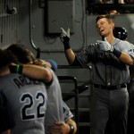 CHICAGO, IL - AUGUST 04: Richie Shaffer (R) of the Tampa Bay Rays after hitting his first MLB hit a home run against the Chicago White Sox during the seventh inning as his teammates ignore him on August 4, 2015 at U.S. Cellular Field in Chicago, Illinois.  (Photo by David Banks/Getty Images)