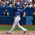 TORONTO, CANADA - AUGUST 16: Jose Bautista #19 of the Toronto Blue Jays hits a two-run home run in the third inning during MLB game action against the New York Yankees on August 16, 2015 at Rogers Centre in Toronto, Ontario, Canada. (Photo by Tom Szczerbowski/Getty Images)