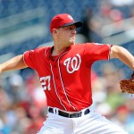 WASHINGTON, DC - AUGUST 23:  Jordan Zimmermann #27 of the Washington Nationals pitches in the second inning against the Milwaukee Brewers at Nationals Park on August 23, 2015 in Washington, DC.  (Photo by Greg Fiume/Getty Images)