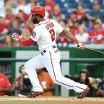 WASHINGTON, DC - AUGUST 26:  Denard Span #2 of the Washington Nationals leads off the first inning with a single during a baseball game against the San Diego Padres at Nationals Park on August 26, 2015 in Washington, DC.  (Photo by Mitchell Layton/Getty Images)