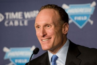 Cleveland Indians General Manager Mark Shapiro smiles during a news conference at Progressive Field on Thursday, Feb. 18, 2010,  in Cleveland, Ohio. The Cleveland Indians announced, effective at the conclusion of the 2010 season, that Shapiro will assume the role of club President. Coupled with Shapiro?s promotion to President, Chris Antonetti will be promoted to Executive Vice President, General Manager. (AP Photo/Jason Miller)