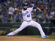 KANSAS CITY, MO - MAY 1:  Kelvin Herrera #40 of the Kansas City Royals throws in the eighth inning against the Detroit Tigers on May 1, 2015 at Kauffman Stadium in Kansas City, Missouri. (Photo by Ed Zurga/Getty Images)