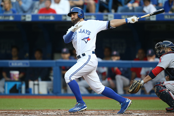 TORONTO, CANADA - JUNE 29: Kevin Pillar #11 of the Toronto Blue Jays hits a double in the second inning during MLB game action against the Boston Red Sox on June 29, 2015 at Rogers Centre in Toronto, Ontario, Canada. (Photo by Tom Szczerbowski/Getty Images)