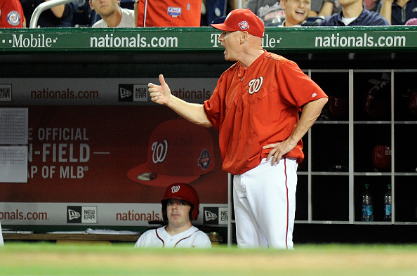 WASHINGTON, DC - AUGUST 05:  Matt Williams #9 of the Washington Nationals yells towards the first base umpire during the sixth inning of the game against the Arizona Diamondbacks at Nationals Park on August 5, 2015 in Washington, DC.  (Photo by Greg Fiume/Getty Images)