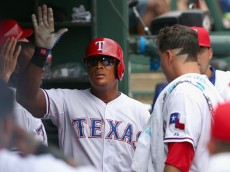 ARLINGTON, TX - AUGUST 30:  Adrian Beltre #29 of the Texas Rangers celebrates after scoring against the Baltimore Orioles on an RBI single hit by Elvis Andrus #1 of the Texas Rangers in the bottom of the third inning at Globe Life Park in Arlington on August 30, 2015 in Arlington, Texas.  (Photo by Tom Pennington/Getty Images)
