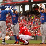 CINCINNATI, OH - SEPTEMBER 27: Lucas Duda #21 of the New York Mets celebrates with David Wright #5 and Daniel Murphy #28 after hitting a grand slam home run against the Cincinnati Reds at Great American Ball Park on September 26, 2015 in Cincinnati, Ohio.  (Photo by John Sommers II/Getty Images)